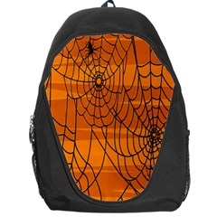 Vector Seamless Pattern With Spider Web On Orange Backpack Bag