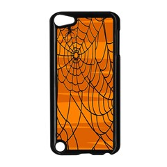 Vector Seamless Pattern With Spider Web On Orange Apple iPod Touch 5 Case (Black)