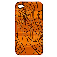 Vector Seamless Pattern With Spider Web On Orange Apple Iphone 4/4s Hardshell Case (pc+silicone)