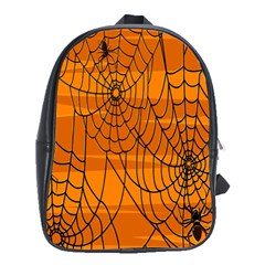 Vector Seamless Pattern With Spider Web On Orange School Bags (xl)