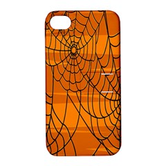 Vector Seamless Pattern With Spider Web On Orange Apple iPhone 4/4S Hardshell Case with Stand