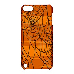 Vector Seamless Pattern With Spider Web On Orange Apple Ipod Touch 5 Hardshell Case With Stand