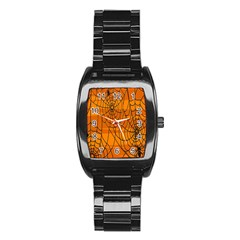 Vector Seamless Pattern With Spider Web On Orange Stainless Steel Barrel Watch