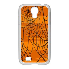 Vector Seamless Pattern With Spider Web On Orange Samsung Galaxy S4 I9500/ I9505 Case (white)