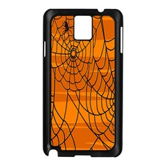Vector Seamless Pattern With Spider Web On Orange Samsung Galaxy Note 3 N9005 Case (Black)