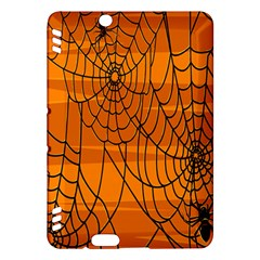 Vector Seamless Pattern With Spider Web On Orange Kindle Fire HDX Hardshell Case