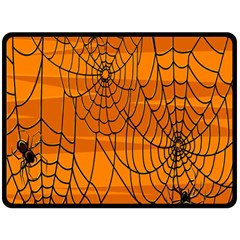 Vector Seamless Pattern With Spider Web On Orange Double Sided Fleece Blanket (large)