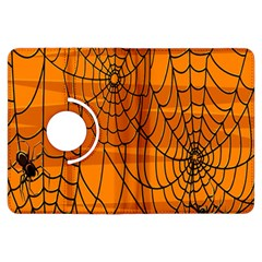 Vector Seamless Pattern With Spider Web On Orange Kindle Fire Hdx Flip 360 Case