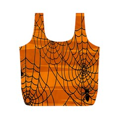 Vector Seamless Pattern With Spider Web On Orange Full Print Recycle Bags (M)