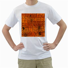 Vector Seamless Pattern With Spider Web On Orange Men s T Shirt (white)
