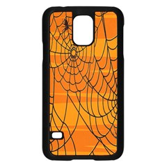 Vector Seamless Pattern With Spider Web On Orange Samsung Galaxy S5 Case (Black)