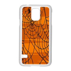 Vector Seamless Pattern With Spider Web On Orange Samsung Galaxy S5 Case (White)
