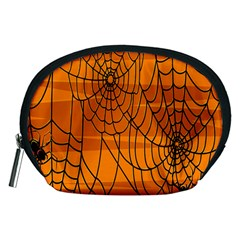 Vector Seamless Pattern With Spider Web On Orange Accessory Pouches (Medium)