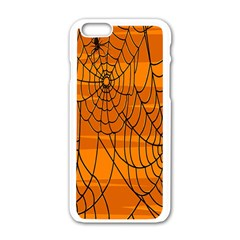 Vector Seamless Pattern With Spider Web On Orange Apple Iphone 6/6s White Enamel Case