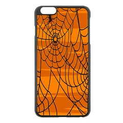 Vector Seamless Pattern With Spider Web On Orange Apple iPhone 6 Plus/6S Plus Black Enamel Case
