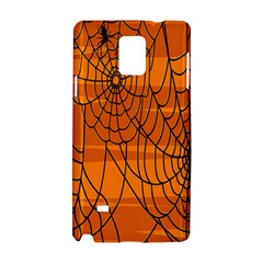 Vector Seamless Pattern With Spider Web On Orange Samsung Galaxy Note 4 Hardshell Case