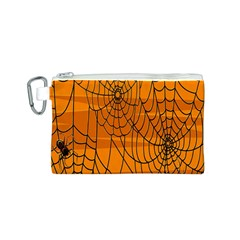 Vector Seamless Pattern With Spider Web On Orange Canvas Cosmetic Bag (s)