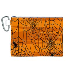 Vector Seamless Pattern With Spider Web On Orange Canvas Cosmetic Bag (xl)
