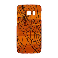 Vector Seamless Pattern With Spider Web On Orange Galaxy S6 Edge