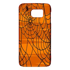 Vector Seamless Pattern With Spider Web On Orange Galaxy S6