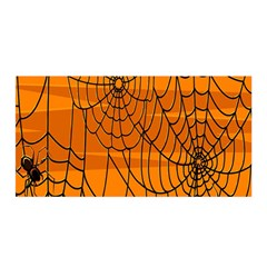 Vector Seamless Pattern With Spider Web On Orange Satin Wrap