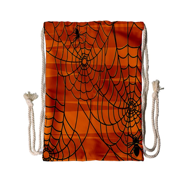 Vector Seamless Pattern With Spider Web On Orange Drawstring Bag (Small)