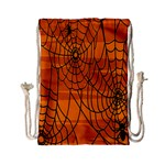 Vector Seamless Pattern With Spider Web On Orange Drawstring Bag (Small) Back
