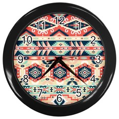 Aztec Pattern Copy Wall Clocks (Black)