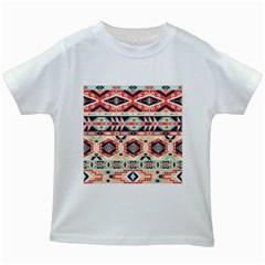 Aztec Pattern Copy Kids White T-Shirts
