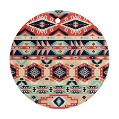 Aztec Pattern Copy Round Ornament (Two Sides)