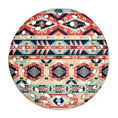 Aztec Pattern Copy Round Filigree Ornament (two Sides)
