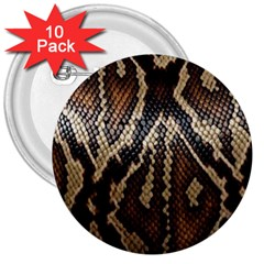 Snake Skin O Lay 3  Buttons (10 pack)