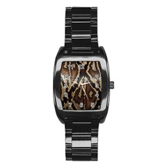 Snake Skin O Lay Stainless Steel Barrel Watch