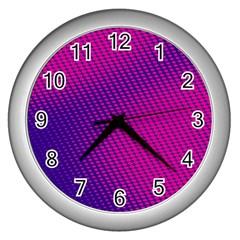 Purple Pink Dots Wall Clocks (Silver)