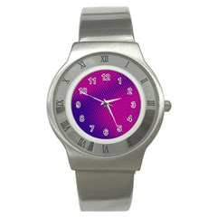 Purple Pink Dots Stainless Steel Watch