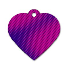 Purple Pink Dots Dog Tag Heart (Two Sides)