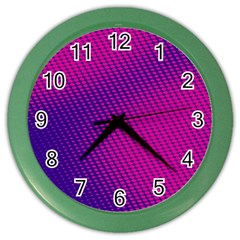 Purple Pink Dots Color Wall Clocks