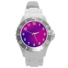 Purple Pink Dots Round Plastic Sport Watch (l)