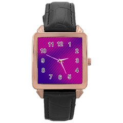 Purple Pink Dots Rose Gold Leather Watch