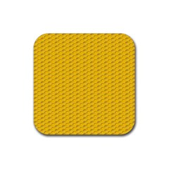 Yellow Dots Pattern Rubber Square Coaster (4 pack)