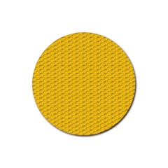 Yellow Dots Pattern Rubber Round Coaster (4 pack)