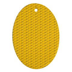 Yellow Dots Pattern Oval Ornament (Two Sides)