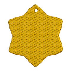 Yellow Dots Pattern Snowflake Ornament (two Sides)