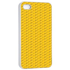 Yellow Dots Pattern Apple Iphone 4/4s Seamless Case (white)