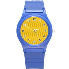 Yellow Dots Pattern Round Plastic Sport Watch (S)