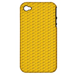 Yellow Dots Pattern Apple iPhone 4/4S Hardshell Case (PC+Silicone)