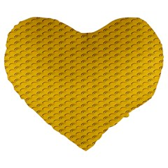 Yellow Dots Pattern Large 19  Premium Heart Shape Cushions