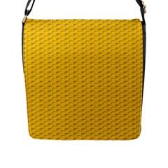 Yellow Dots Pattern Flap Messenger Bag (L)