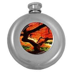 Maple Tree Nice Round Hip Flask (5 oz)
