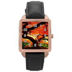 Maple Tree Nice Rose Gold Leather Watch